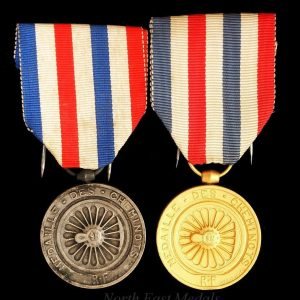 Pair of WW2 French Railwayman's Long Service Medals Silver and Gilt