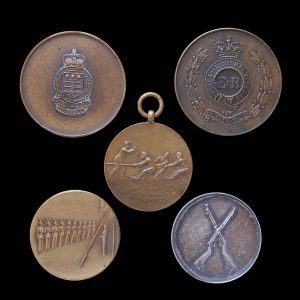 Five Army Prize Medallions one named to L/Cpl. A. Burton B.A.O.R. 1927