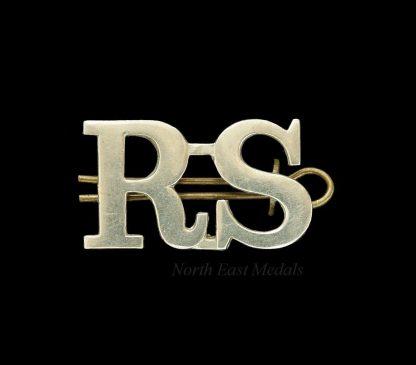 Large Type 'R.S.' Royal Scots Shoulder Title Badge