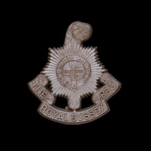 Royal Sussex Regiment WW2 Plastic Economy Cap Badge