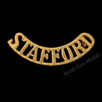 Staffordshire Regiment Officers Heavy Gilt Shoulder Title Badge