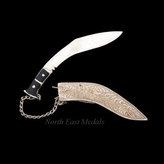 Silver Gurkha Rifles / Gurkha Regiment Sweetheart Brooch / Badge Kukri Knife