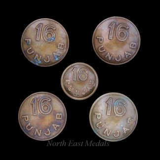 Five 16th Punjab Regiment Uniform Buttons
