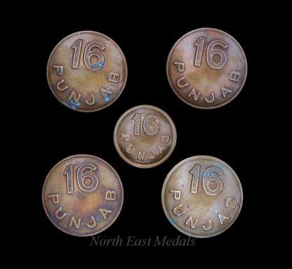 Five 16th Punjab Regiment Uniform Buttons
