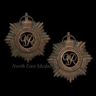 Pair of Royal Army Service Corps RASC Officers Collar Badges