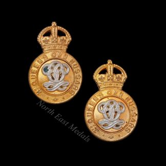 Pair of 7th Queen's Own Hussars Collar Badges