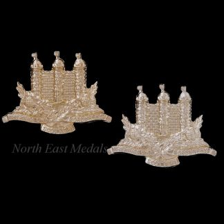 Pair of King's Own Scottish Borderers Staybrite Collar Badges