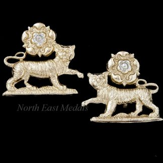 Pair of York and Lancaster Regiment Staybrite Collar Badges