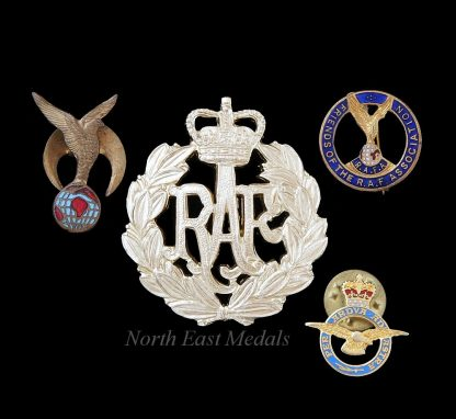 Royal Air Force Staybrite Cap Badge + 3 Lapel Badges