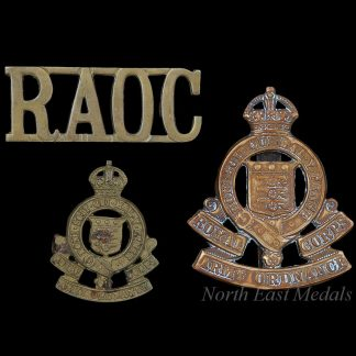 WW2 Royal Army Ordnance Corps Cap Collar and Shoulder Title Badges