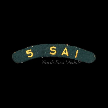 5th South African Infantry Embroidered Cloth Shoulder Title Badge