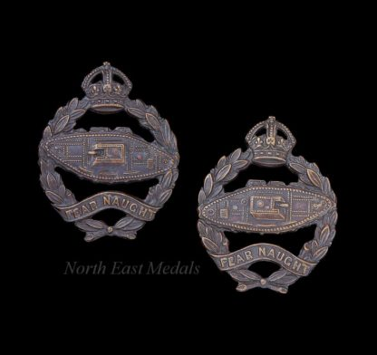 Pair of Royal Tank Regiment Officers Bronze Collar Badges