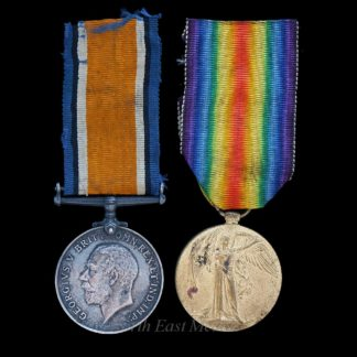 British War and Victory Medal Pair Private Hancox KOYLI. Died of Wounds 1917