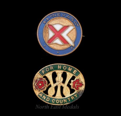 SS Nevasa Shipping Lapel Badge and Women's Institute Badge