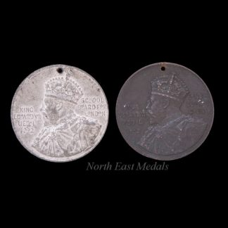 Pair of King Edward VII School Attendance Medals, Bronze and White Metal