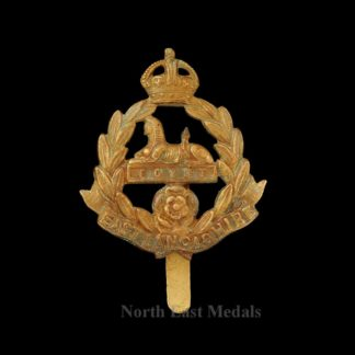 WW1 East Lancashire Regiment Economy Brass Cap Badge