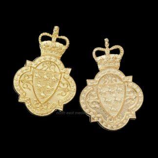Pair of Sussex Yeomanry Staybrite Anodised Aluminum Collar Badges
