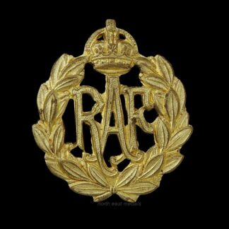 RAF Royal Air Force Airman's Cap Badge. Yellow Brass Variant