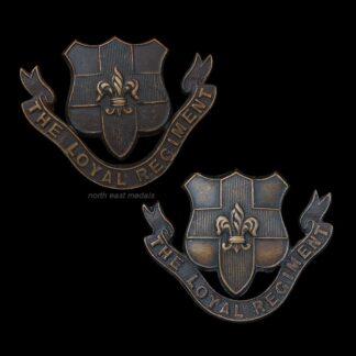 Loyal Regiment North Lancashire Officer's OSD Bronze Collar Badges