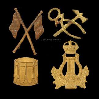 Four Different British Army Proficiency Badges, Artificer, Signalers, Drummer, Bandsman