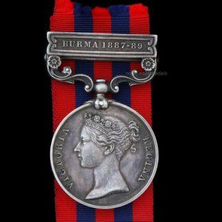 India General Service Medal 1854 'Burma 1887-89, Private Tingay Rifle Brigade