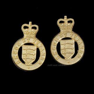 Pair of Essex Yeomanry Staybrite Collar Badges