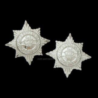 Pair of 4th/7th Royal Dragoon Guards Staybrite Collar Badges