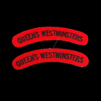 Pair of Queen's Westminster Rifles Cloth Shoulder Title Badges. 'Queen's Westminsters' (a)