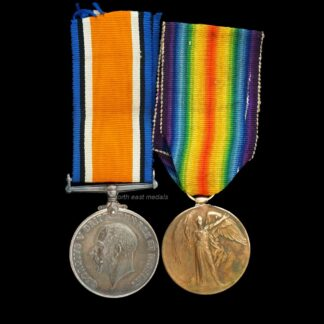 British War and Victory Medal Pair Private Smith Middlesex Regiment. Wounded