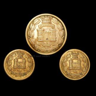 Three Victorian Suffolk Regiment Officers Uniform Buttons
