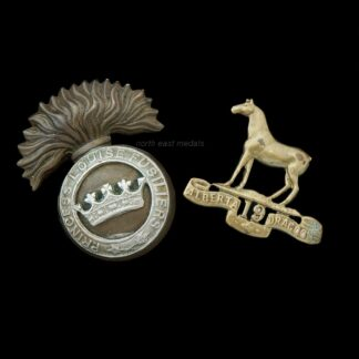 Two Canadian Army Badges (defective). Princess Louise Fusiliers Cap & 19th Dragoons Collar
