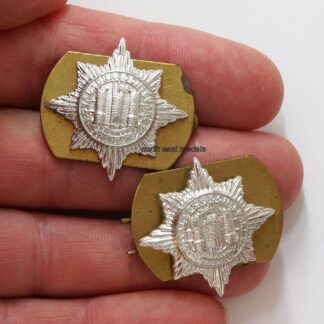 Pair of Royal Dragoon Guards Staybrite Anodised Collar Badges