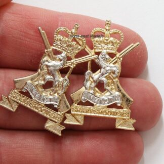 Pair of Kent & Country of London Yeomanry Staybrite Collar Badges