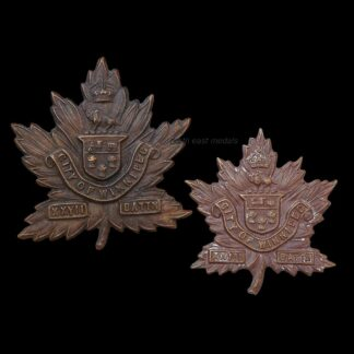 27th Battalion CEF Canadian Expeditionary Force Cap and Collar Badge