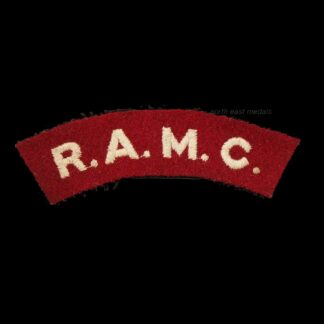 Vintage RAMC Royal Army Medical Corps Embroidered Cloth Shoulder Title Badge
