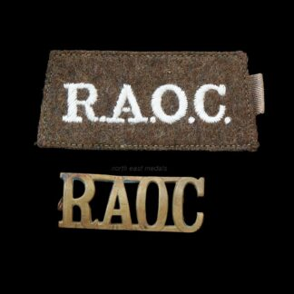 RAOC Royal Army Ordnance Corps Cloth and Brass Shoulder Title Badges