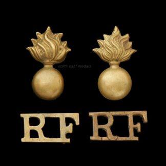 Pair of Royal Fusiliers Two Prat Shoulder Title Badges