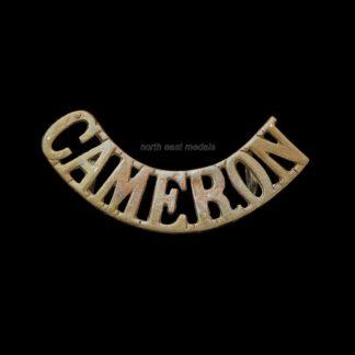 Great War Cameron Highlanders 'CAMERON' Shoulder Title Badge