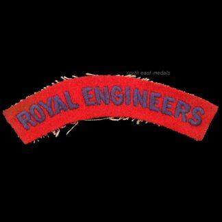 Vintage Royal Engineers Cloth Embroidered Shoulder Title Badge