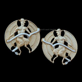 Pair of Inns of Court and City Yeomanry Staybrite Anodised Collar Badges