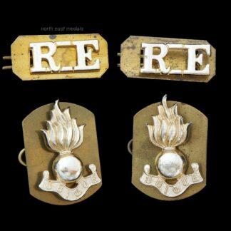 Set of Royal Engineers Staybrite Collar and Shoulder Title Badges