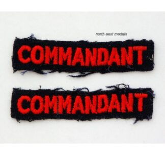 Pair of WW2 Home Front Red Cross 'Commandant' Cloth Arm Badges