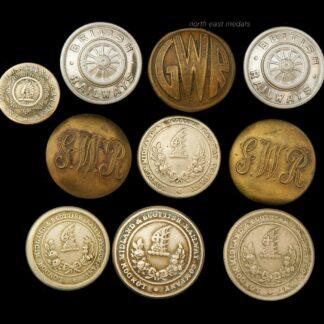 Ten Vintage Railway Company Uniform Buttons