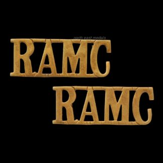 Pair of 'RAMC' Royal Army Medical Corps Shoulder Title Badges